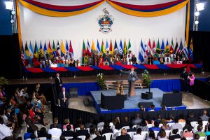 """President Obama delivers remarks during a """"Young Leaders of the Americas Initiative"""" town hall at the University of the West Indies. (Official White House Photo by Amanda Lucidon)"""