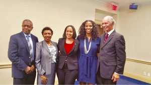 (L-R) Oscar Spencer, Rep. Yvette Clarke, Sally Yearwood, Rep. Plaskett, and Amb. Curtis Ward